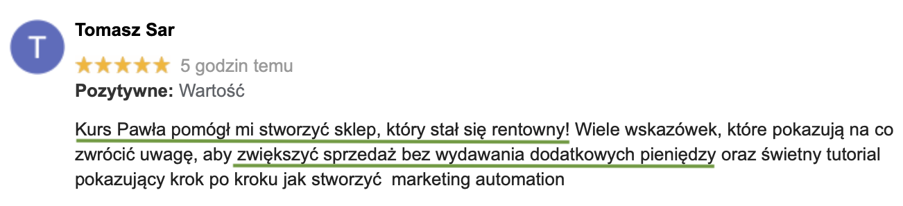 opinia o kursie e-commerce estrategie.pl